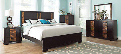 CONTEMPORARY TWO-TONE LEATHERETTE 4 PC QUEEN BED NS DRESSER MIRROR FURNITURE SET