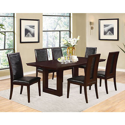 BROWN DINING TABLE & BLACK LEATHERETTE CHANNEL QUILTED CHAIRS FURNITURE SET