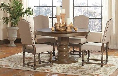 TRADITIONAL FRENCH STYLE ASH WOOD PEDESTAL DINING TABLE & CHAIRS FURNITURE SET