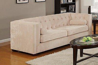 SLEEK ALMOND BEIGE MICRO VELVET SOFA LIVING ROOM FURNITURE