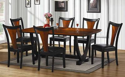 TWO TONE AMBER & BLACK FINISH LEATHERETTE DINING TABLE & CHAIRS FURNITURE SET