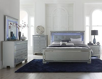 GLITZY 4 PC GRAY MIRRORED LED LIGHTS KING BED N/S DRESSER BEDROOM FURNITURE  SET