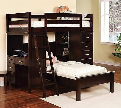 CAPPUCCINO FINISH SOLID WOOD TWIN LOFT BUNK BED DESK WORKSTATION CHEST CHAIR SET