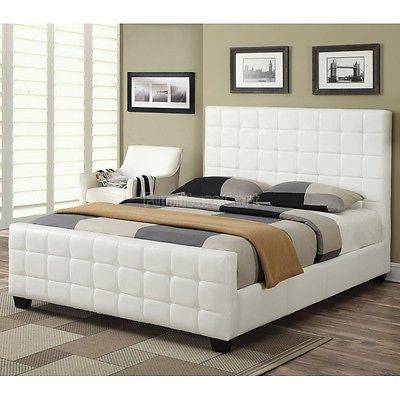 COOL CONTEMPORARY WHITE LEATHERETTE TUFTED KING BED BEDROOM FURNITURE