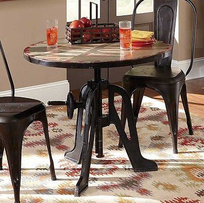COOL COMPACT CRANK TOP IRON LIFT DINING PUB BAR TABLE TRACTOR SEAT STOOLS