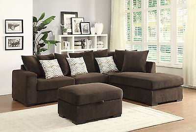 REVERSIBLE CONFIGURATION CHOCOLATE CHENILLE SECTIONAL LIVING ROOM FURNITURE SET