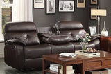BROWN BONDED LEATHER DUAL 2 RECLINERS RECLINING SOFA LOVESEAT DROP DOWN CONSOLE