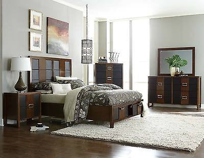 4 PC URBAN STYLE VINYL BROWN CHERRY FINISH QUEEN BED DRESSER MIRROR BEDROOM SET