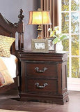 4 PC LOUISE PHILLIPE STYLE CHERRY FINISH KING BED DRESSER MIRROR BEDROOM SET