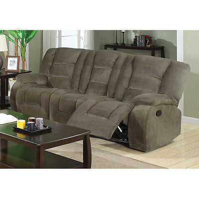 CASUAL BROWN SAGE PADDED VELVET RECLINING MOTION SOFA LIVING ROOM FURNITURE