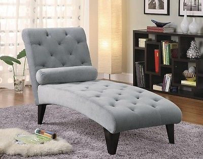 BLUE BUTTON TUFTED MICROFIBER VELOUR CHAISE LOUNGE RECLINER FURNITURE