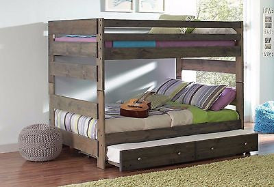 PINE GUN SMOKE FINISH FULL BUNK BED & TRUNDLE BEDROOM FURNITURE SET