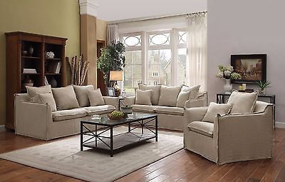 SHABBY BUT CHIC BEIGE LINEN BLEND SOFA & CHAIR LIVING ROOM FURNITURE SET
