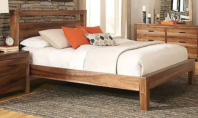 CHARMING RUSTIC PLANK LOOK 4 PC QUEEN BED N/S DRESSER MIRROR FURNITURE SET