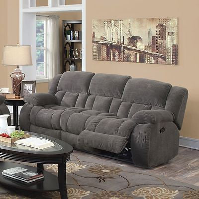 COZY CHARCOAL TEXTURED CHENILLE RECLINING MOTION SOFA LIVING ROOM FURNITURE