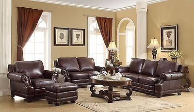 TWO TONE BROWN ALL 100% LEATHER SOFA & LOVESEAT LIVING ROOM FURNITURE SET