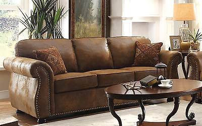 FABULOUS BROWN BOMBER JACKET MICROFIBER SOFA COUCH LIVING ROOM FURNITURE