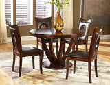 CASUAL 5 PC RICH CHERRY FINISH OVAL CUTOUT TABLE & CHAIRS DINING FURNITURE SET