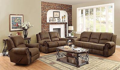 TRADITIONAL BROWN MICROFIBER NAILHEAD ACCENT SOFA & LOVE SEAT FURNITURE SET