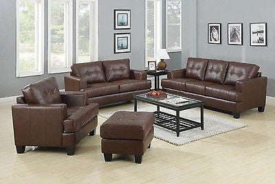 DARK BROWN BONDED LEATHER SOFA  LOVE SEAT & CHAIR LIVING ROOM FURNITURE SET