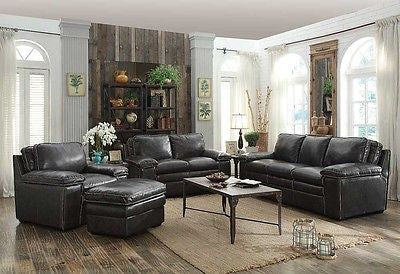 TWO TONE CHARCOAL GRAY TOP GRAIN LEATHER SOFA LOVE SEAT CHAIR & OTTOMAN SET