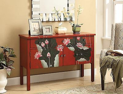 FABULOUS RED FLORAL PAINTED CONSOLE TABLE CABINET CHEST