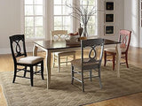 COUNTRY STYLE BUTTERMILK DINING TABLE & RED CHAIRS DINING ROOM FURNITURE SET