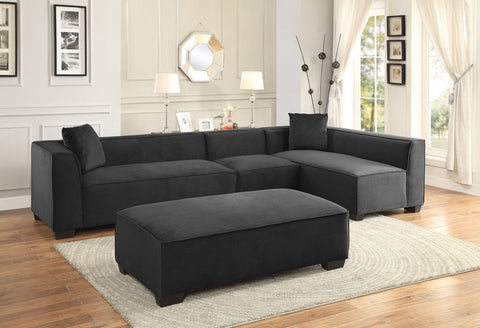 MODERN EXTENDABLE GRAPHITE SOFA CHAISE SECTIONAL LIVING ROOM FURNITURE SET