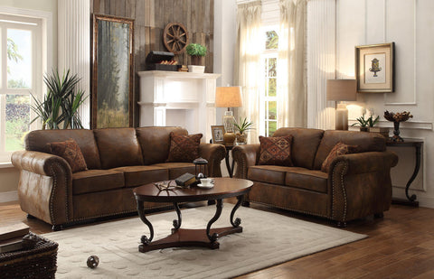 FABULOUS BROWN BOMBER JACKET MICROFIBER SOFA LOVESEAT LIVING ROOM FURNITURE SET