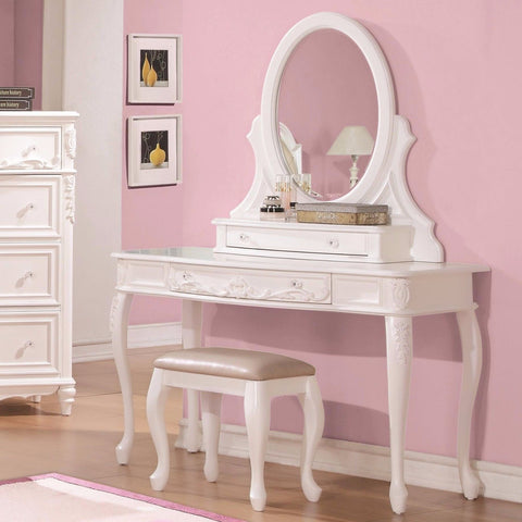 FABULOUS WHITE VANITY DRESSING TABLE & STOOL BEDROOM FURNITURE SET