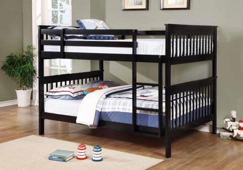 BLACK FULL OVER FULL BUNK BED WITH LADDER YOUTH BEDROOM FURNITURE SET