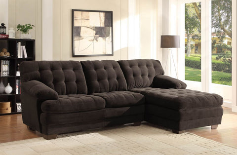 OVERSIZED BROWN MICROFIBER TUFTED SOFA CHAISE SECTIONAL LIVINGROOM FURNITURE SET