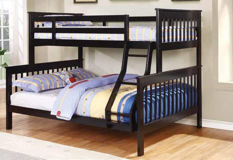 BLACK TWIN OVER FULL BUNK BED WITH LADDER YOUTH BEDROOM FURNITURE SET