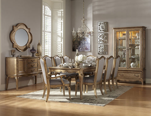 STATELY CHAMPAGNE GOLD FINISH DINING TABLE & CHAIRS DINING ROOM FURNITURE SET