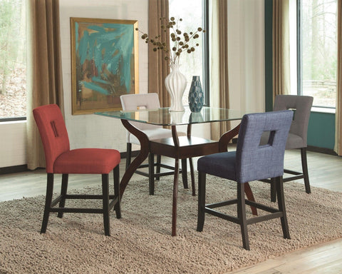 STYLISH 5 PC COUNTER HEIGHT DINING TABLE MULTI COLOR CUTOUT CHAIRS FURNITURE SET
