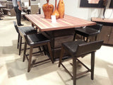 TWO TONE COUNTER HEIGHT PEDESTAL DINING TABLE & STOOLS DININGROOM FURNITURE SET