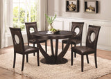STYLISH CAPPUCCINO 5 PC DINING TABLE w/ CUT OUT CHAIRS DINING ROOM FURNITURE SET