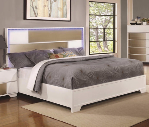 TWO TONE WHITE & SILVER QUEEN BED W/ LED HEADBOARD LIGHTS BEDROOM FURNITURE