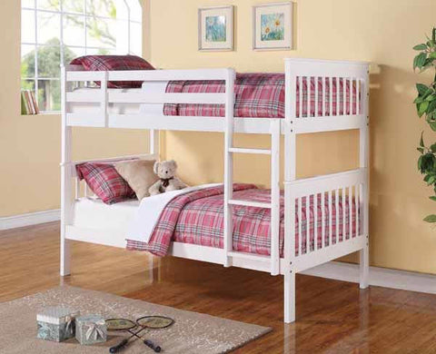 WHITE FULL OVER FULL BUNK BED WITH LADDER YOUTH BEDROOM FURNITURE SET