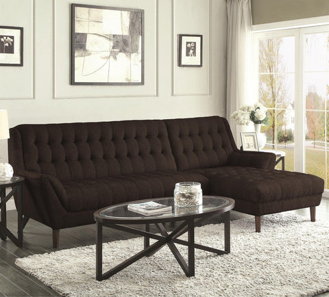RETRO LOOK BLACK TUFTED CHENILLE SOFA SECTIONAL LIVING ROOM FURNITURE SET