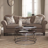 BUTTON TUFTED GRAY GREY LINEN-LIKE SOFA & CHAISE LIVING ROOM FURNITURE SET