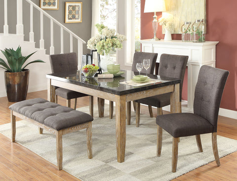 SLEEK DINING TABLE W/ FAUX STONE MARBLE TOP DINING CHAIRS BENCH FURNITURE SET