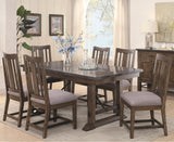 RUSTIC ASH GUNMETAL FINISH DINING TABLE w/ BLUESTONE LAMINATE TOP FURNITURE SET