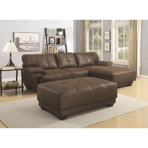 OVERSIZED CAPPUCCINO BROWN MICROFIBER SOFA SECTIONAL LIVING ROOM FURNITURE SET