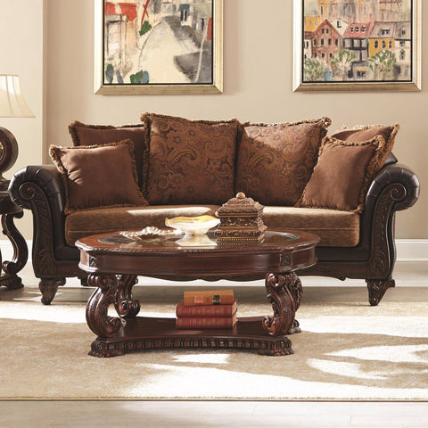BEAUTIFUL BROWN CHENILLE HAND CARVED SOFA COUCH LIVINGROOM FURNITURE