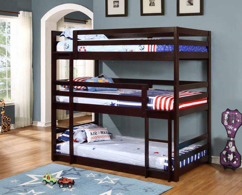 SPACE SAVING CAPPUCCINO (3) TRIPLE TWIN BUNK BED YOUTH BEDROOM FURNITURE SET
