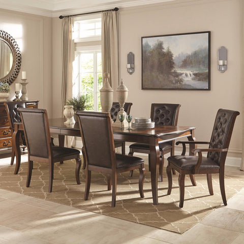 FRENCH TRADITIONAL DINING TABLE & BROWN TUFTED LEATHERETTE CHAIRS FURNITURE SET