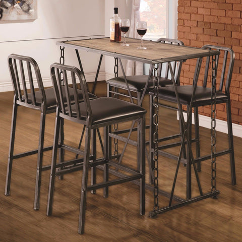 INDUSTRIAL STYLE SILVER METAL CHAIN LINK LEGS DINING PUB BAR TABLE U0026 STOOLS  SET