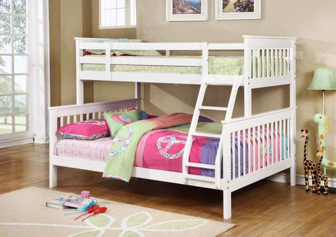 WHITE TWIN OVER FULL BUNK BED WITH LADDER YOUTH BEDROOM FURNITURE SET