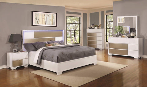 4 PC WHITE & SILVER QUEEN BED W/ LED HEADBOARD LIGHTS BEDROOM FURNITURE SET